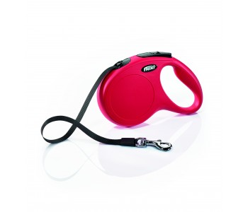 Автоматичен повод за кучета Flexi New Classic M лента 5 м/25 кг - червен