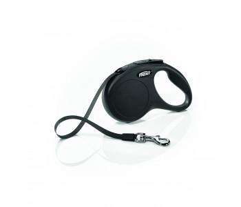 Автоматичен повод за кучета Flexi New Classic S лента 5 м/15 кг - черен