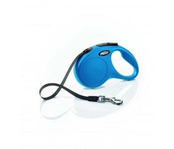 Автоматичен повод за кучета Flexi New Classic S лента 5 м/15 кг - син