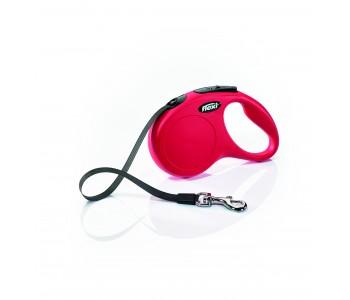 Автоматичен повод за кучета Flexi New Classic S лента 5 м/15 кг - червен