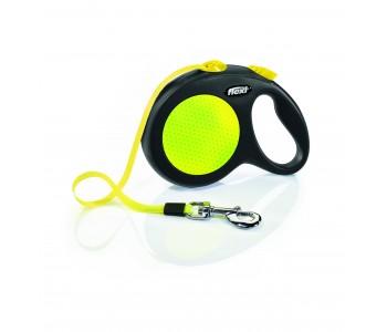 Автоматичен повод за кучета Flexi New Neon L – лента 5м/50кг, черен/жълт неон