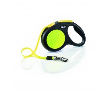 Автоматичен повод за кучета Flexi New Neon M – лента 5м/25кг, черен/жълт неон