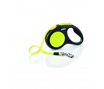 Автоматичен повод за кучета Flexi New Neon S – лента 5м/15кг, черен/жълт неон